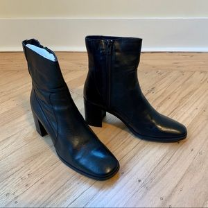 Zara black leather booties - EU38 / US7.5